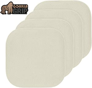 Gorilla Grip Original Premium Memory Foam Chair Cushions, 4 Pack, 16x16 Inch, Thick Comfortable Seat Cushion Pad, Large Size, Slip Resistant, Durable Soft Mat Pads for Office, Kitchen Chairs, Cream