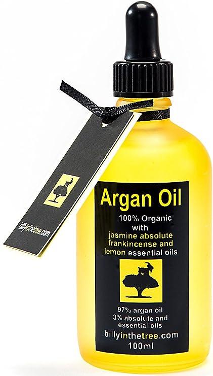 Puro aceite de argán con jazmín absoluto, Olíbano y aceites esenciales de limón. 100