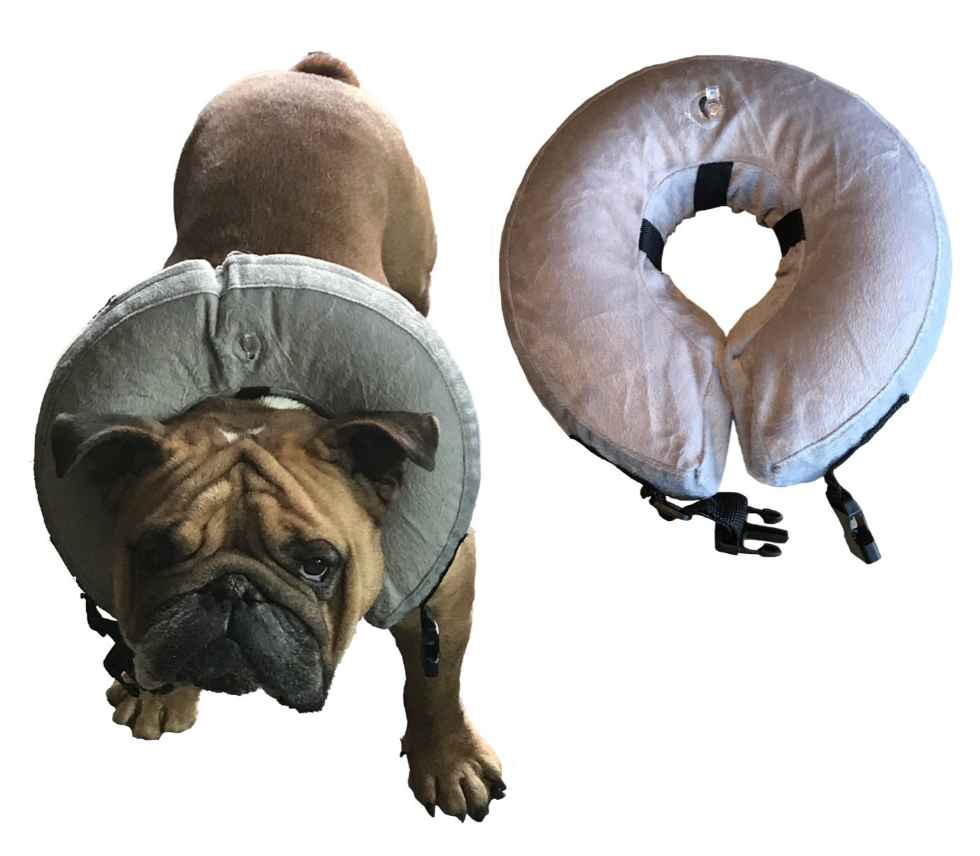 Vast Array Protective Inflatable Collar for Dogs and Cats - Soft Pet Recovery Collar Prevent Pets from Touching Wounds After Surgery (Medium)