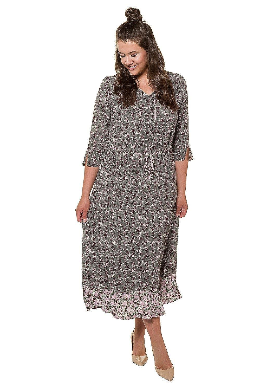 Ulla Popken Womens Plus Size Floral Flounce Hem Crepe Dress 717769