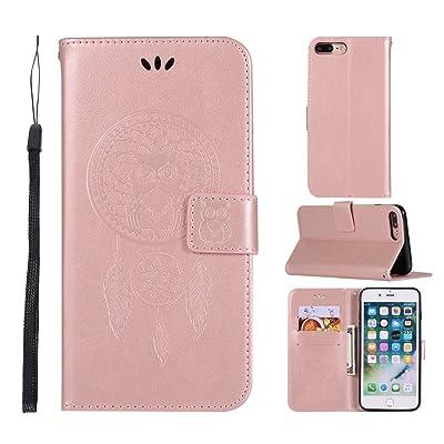 bestcatgift funda iPhone 8plus Case con búho impresión tecnología y [función atril] [correa de muñeca] para Appel iPhone 7Plus oro rosa oro rosa
