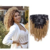Promotion Clip in Kinky Curly Remy Human Hair Extensions for Black Women (12 INCH, CL KC #1B/27)