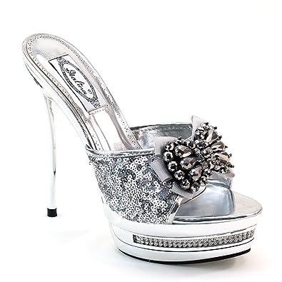 ce14f21976af71 Lady Bead Rhinestone Studded Bow Platform High Heel Mules P1199 Silver (5.5  B(M