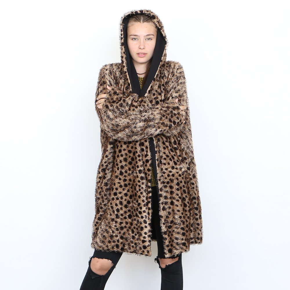 Best gift for christmas, Cuddle Coat , Leopard Faux Fur Coat, LONG HOODIE. by Naftul