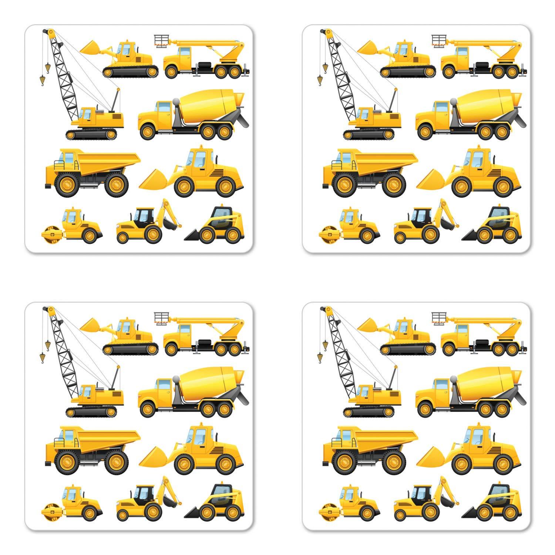Boy 'sコースターセットの4つのby Ambesonne、抽象のイメージConstruction Vehicles and Drinksの機械トラックブルドーザークレーン、正方形ハードボードグロスコースター、地球イエローブラック   B07BHQ2PKJ