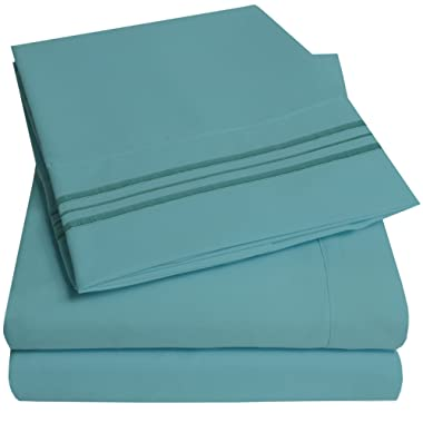 1500 Supreme Collection Extra Soft King Sheets Set, Misty Blue - Luxury Bed Sheets Set With Deep Pocket Wrinkle Free Hypoallergenic Bedding, Over 40 Colors, King Size, Misty Blue