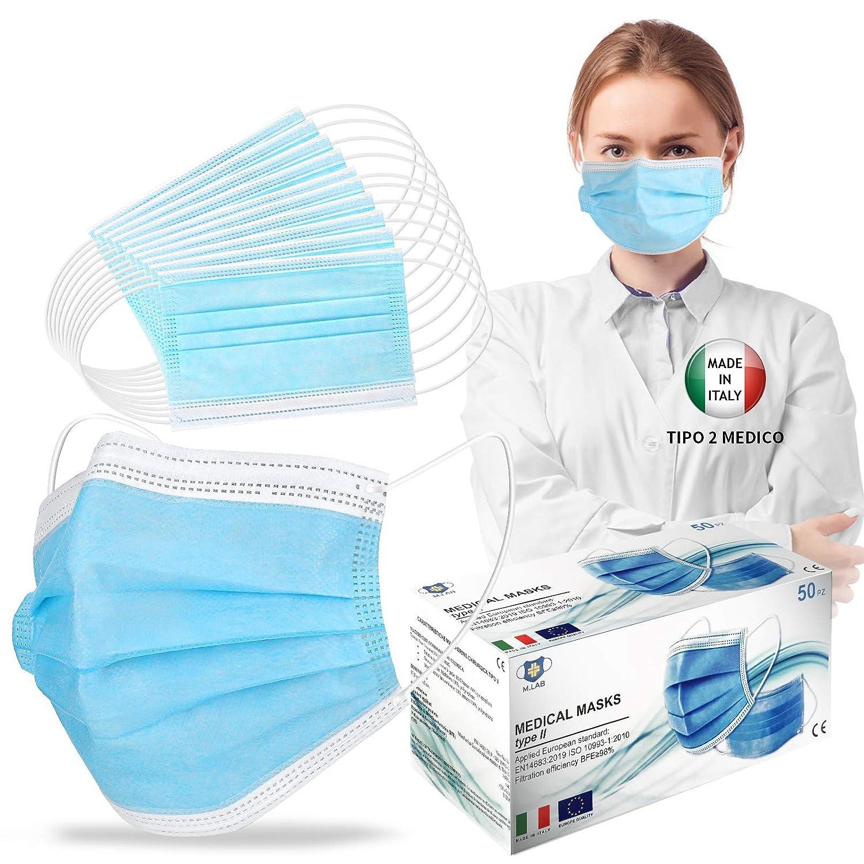 50 piezas de cara protectora personal, Made Italy Tipo 2 Médico, nariz ajustable, almacén italiano