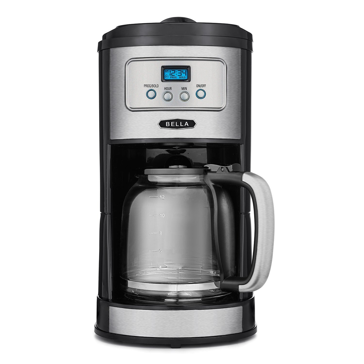 BELLA Classics 12 Cup Programmable Coffee Maker, Bold Brew Stainless and Chrome