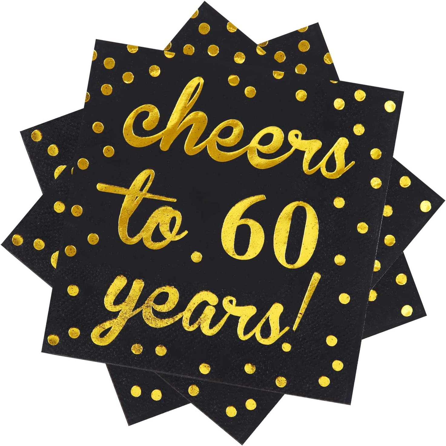 Elcoho 60 Pack Cocktail Napkins 60th Birthday Decorations Luncheon Napkins for Birthday, Anniversary Party Supplies, Cheers to 60 Years Design, 2 Layers, 5 by 5 Inches