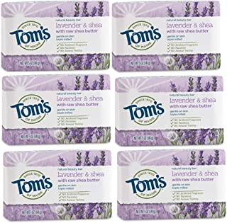product image for Tom's of Maine Natural Beauty Bar Soap, Lavender & Shea With Raw Shea Butter, 5 Oz, 6-Pack, Lavender Tea Tree, 30 Oz