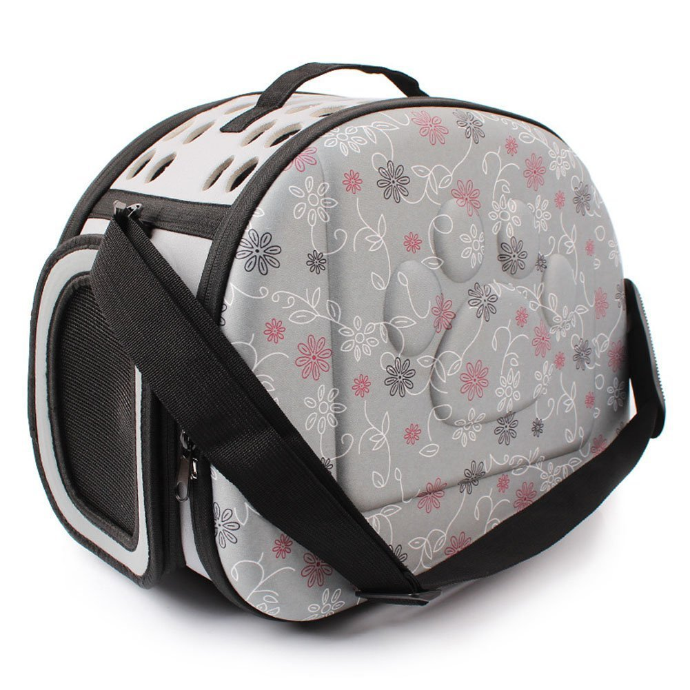 Pet Carrier, 34cm * 20cm * 18cm, Foldable Washable Breathable Mesh Cats Small Dogs Outdoors Travel Tote Bag Handbag (S, Grey) SoFou