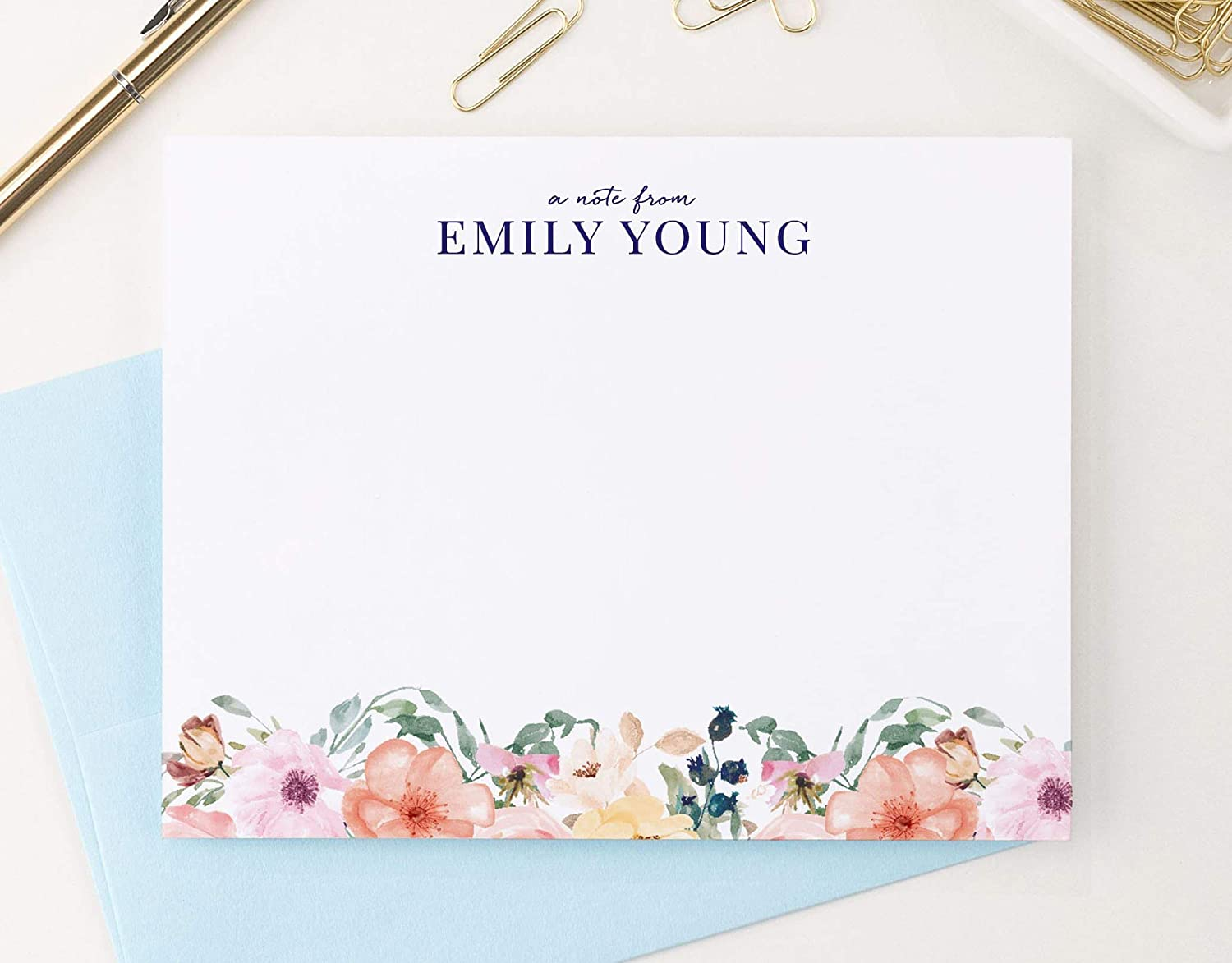 Personalized Floral Stationery Set, Personalized stationary for Women, Your Choice of Colors and Quantity