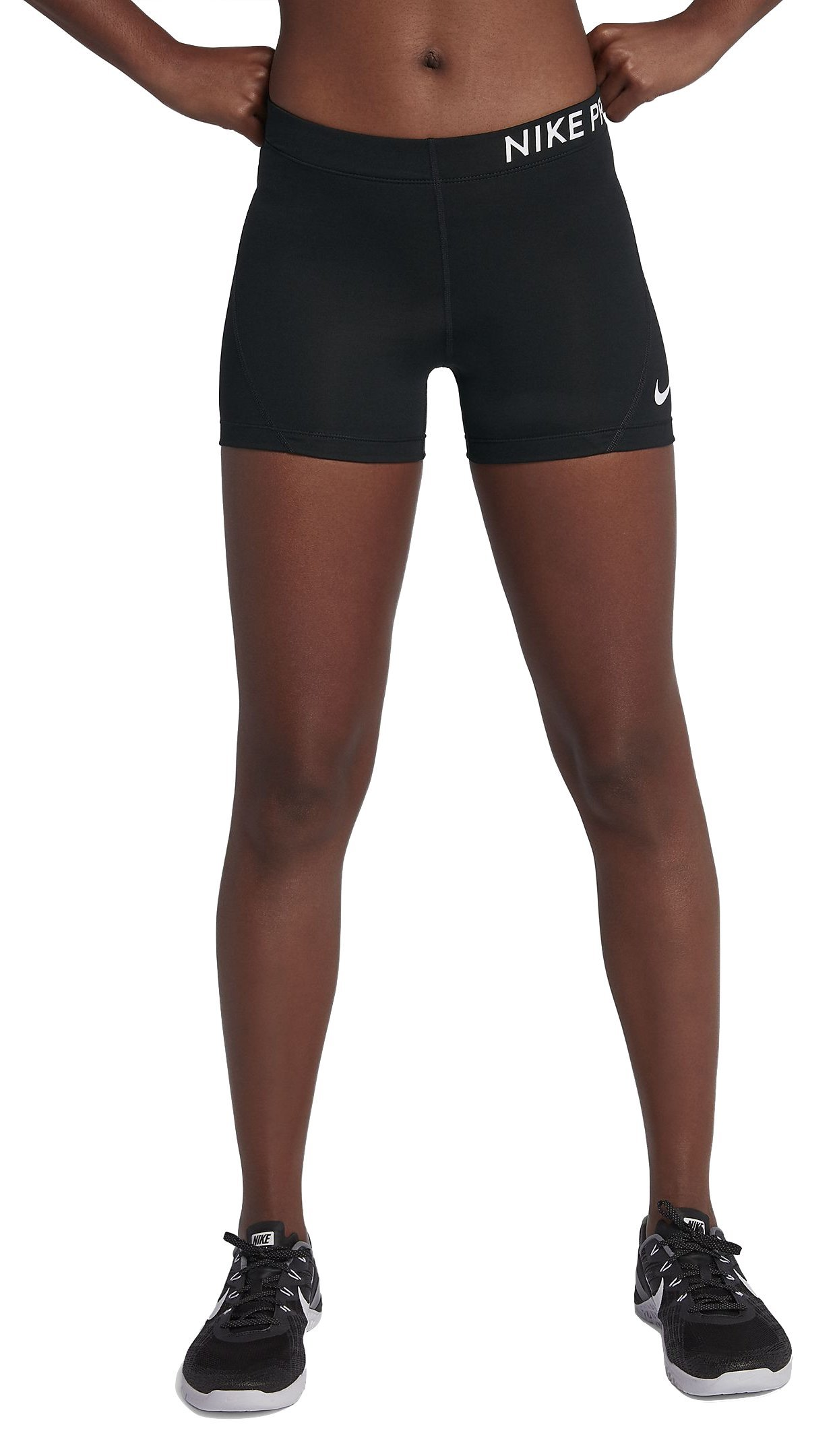 NIKE Womens Pro Compression 3'' Short Black/White S 589364-010-S by Nike (Image #1)