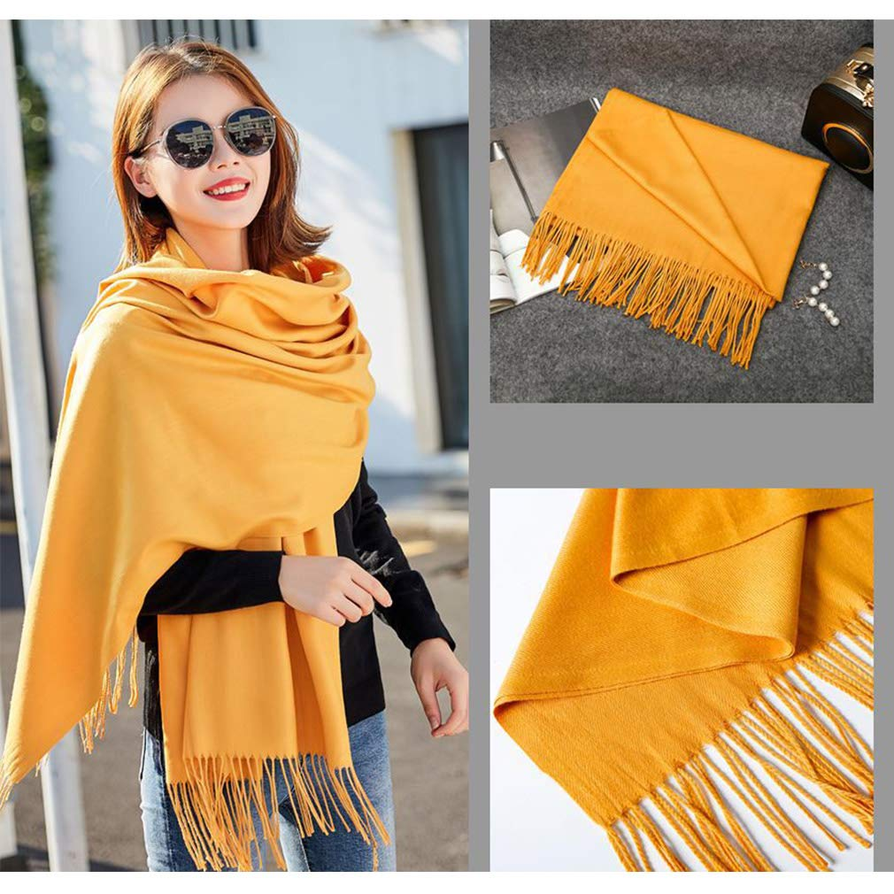Bufandas calientes del invierno Colores s/ólidos Suaves bufandas largas del abrigo del mant/ón Sensaci/ón de la cachemira Moda bufanda de la borla