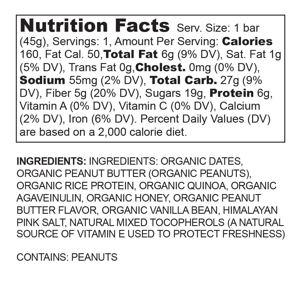 BASE Performance REAL BAR Box of 12 - Peanut Butter Flavor   Gluten Free, Soy Free, GMO Free, and Dairy Free - Contains Peanut Butter / Dates / Quinoa / Honey and many other natural ingredients