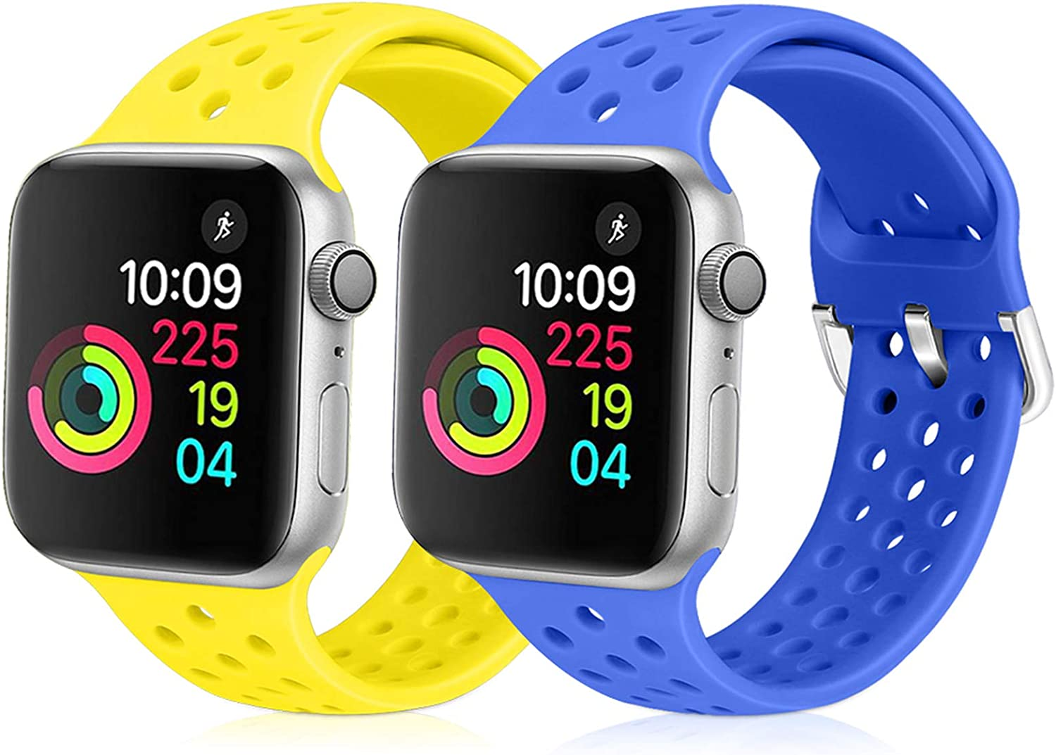 XFYELE Compatible with Apple Watch Band 42mm 44mm, Soft Silicone Replacement Strap Compatible for iWatch Series 6, 5, 4, 3, 2, 1 for Women and Men (Sapphire Blue & Shiny Yellow, 42mm/44mm)