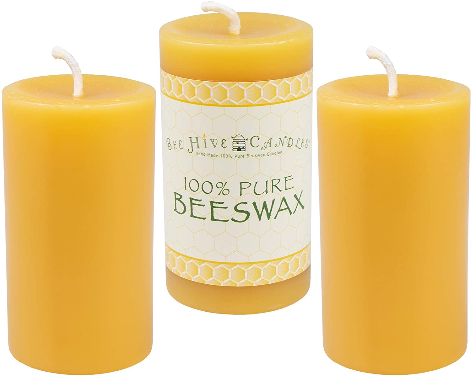 Amazon Com Bee Hive Candles 100 Pure Beeswax Pillar Candle 2 X 3 3 Pack Home Kitchen