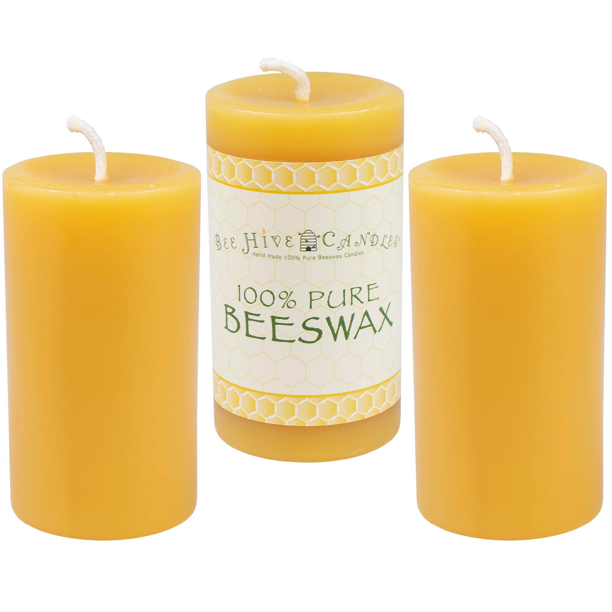 Bee Hive Candles 100% Pure Beeswax Pillar Candle (2'' x 3'' (3-Pack))