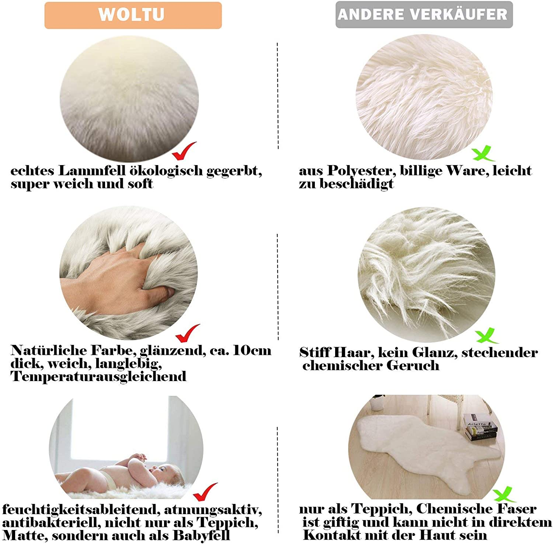 WOLTU Peau de Mouton Tapis de Laine Toison Moquette Tapis de canap/é 170-180cm,Blanc TP3512ws-M