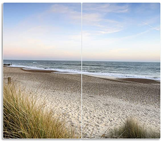 Herdabdeckplatte 2-teilig aus Glas Auf Holzweg Strand Strand Sand Meer 60x52cm