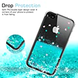 d3322cb777 iPhone 4S Case for Girls Women, LeYi Cute Shiny Glitter Moving Quicksand  Clear TPU Protective Phone Case Cover for Apple iPhone 4/ 4S/ 4G ZX  Turquoise