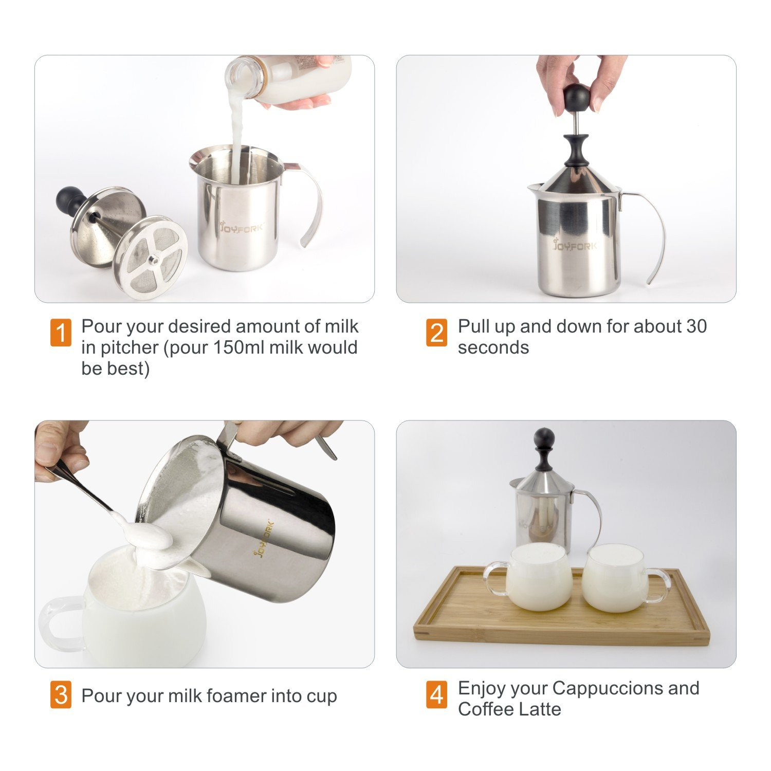 Manual Milk Frother,JoyFork Stainless Steel Hand Pump Milk Foamer, Handheld Milk Frothing Pitchers,Manual Foam Maker with Proffessional Fancy Latte Art Pen For Cappuccinos and Coffee Latte 14-Ounce by JoyFork (Image #4)