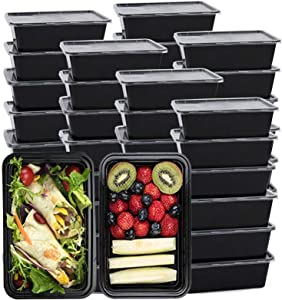 25 PACK Meal Prep Containers, Reusable To-Go Food Containers Plastic Bento Boxes with Lids, Food Storage Lunch Box, Microwave/ Freezer/Dishwasher Safe, 1 Compartment, BPA-Free, 750ML/26 OZ