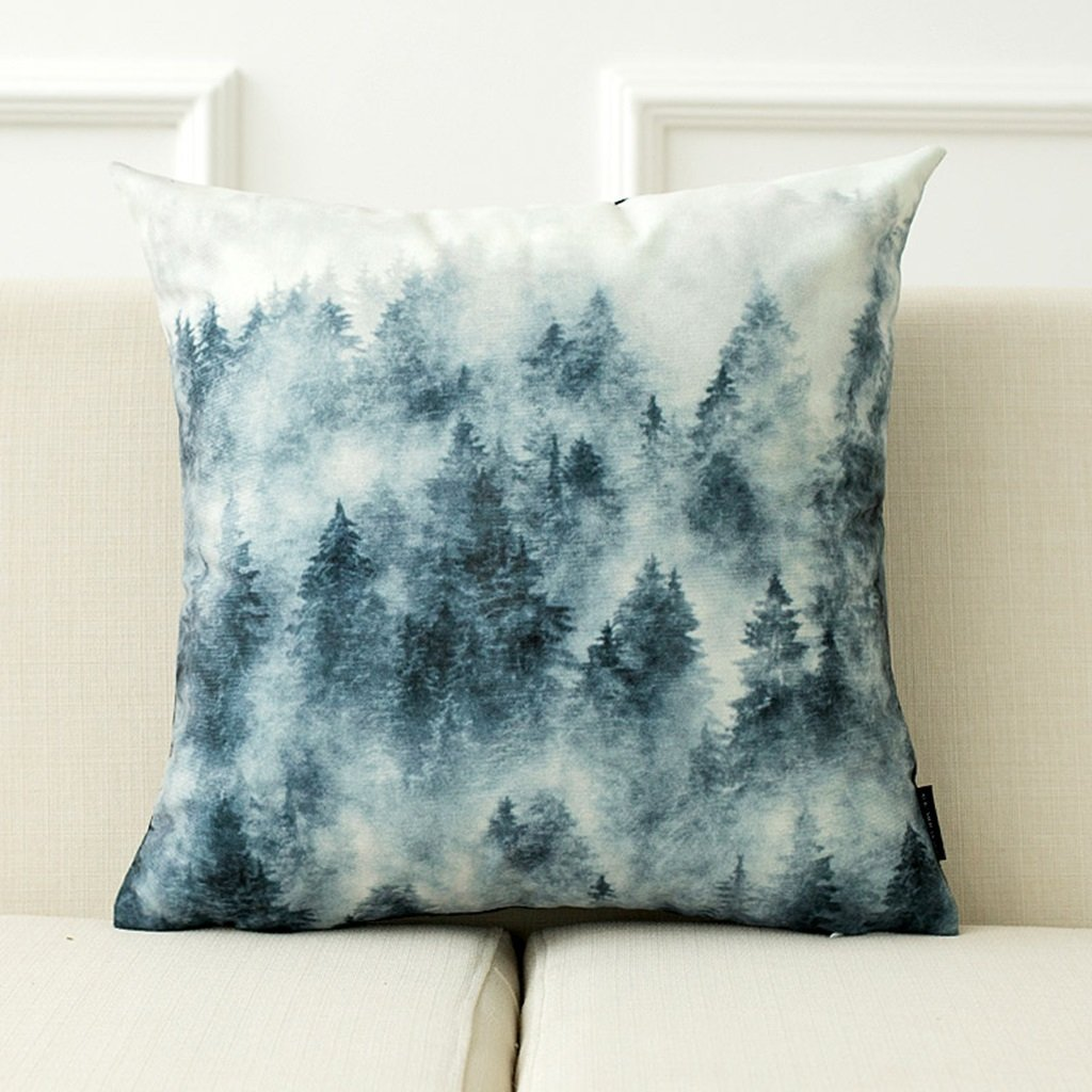 ZDNALS Scenic Pillow, Printed Cushion, Square Forest Decorative Cushion 43cm×43cm Pillow (Pattern : B) by ZDNALS