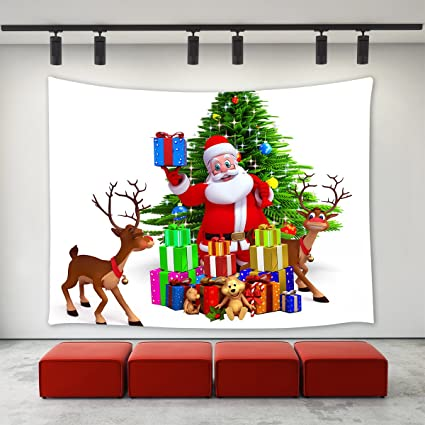 christmas decor tapestry wall hanging funny christmas decorations santa claus reindeer christmas tree gifts presents