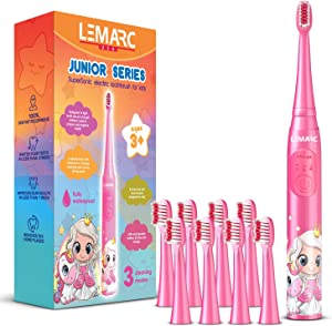 LEMARC USA Supersonic Kids Electric Toothbrush 8 Dupont Brush Heads, USB Rechargeable, Vibration Speed Control Plus Massage Mode, 2 Min Timer, Waterproof, for Age 3+