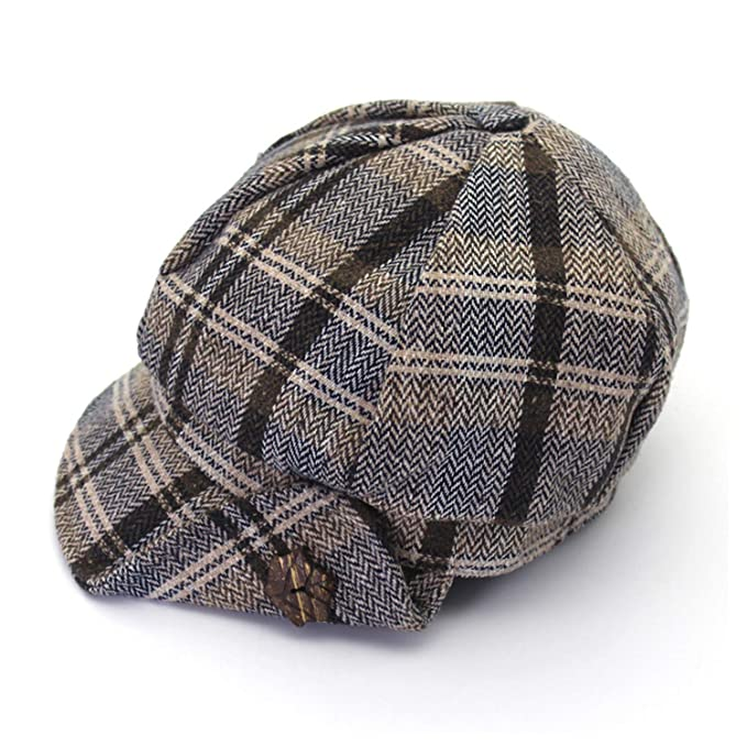 18c280c2e Newsboy Cap Women Vintage Octagonal Hat Plaid Ladies Gray Retro ...