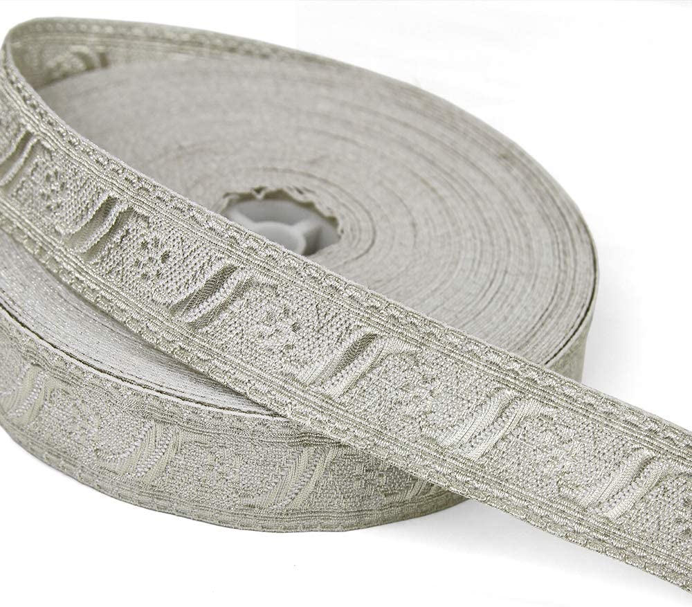5 Yards of FLORENCE 3//4 Wide Military-Style Bullion Braid Trim Dark Silver