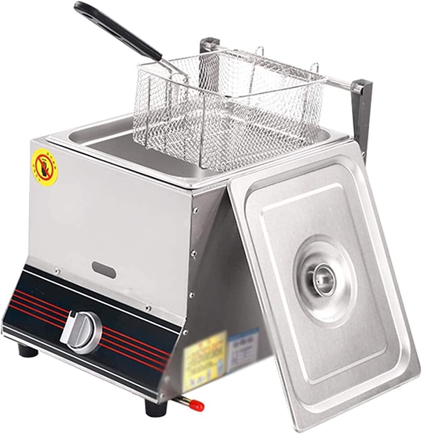Electric Deep Fryer Countertop Oil Fryer,Stainless Steel Gas Fryers Fried Potato Pan With Temperature Control Pulse Ignition And Seasoning Rack For Home And Commercial 1111