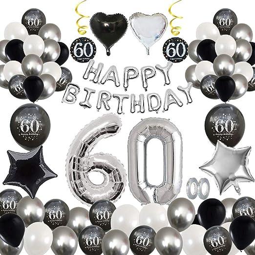 MMTX 60 Decoración fiesta cumpleaños, Feliz cumpleaños Decoracion Globos Negro plateado con Happy Birthday Banner, impresión látex Globos de papel de ...