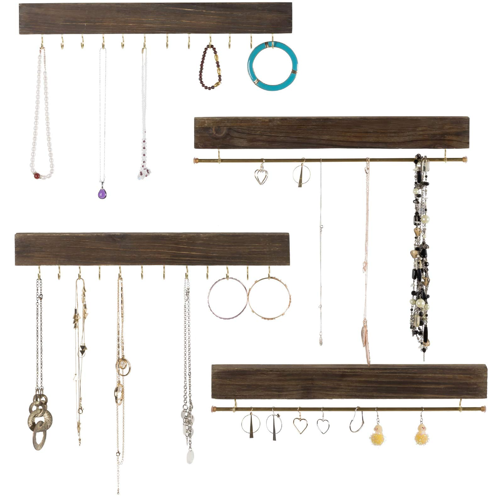 Large Wall Mounted Jewelry Organizer. 17'' Inches Wide Rustic Display with Hooks for Hanging Rings, Earrings, Necklace Holder, Bracelet Hanger. Shabby Chic Wood Home Decor (Set of 4 - Dark Brown)