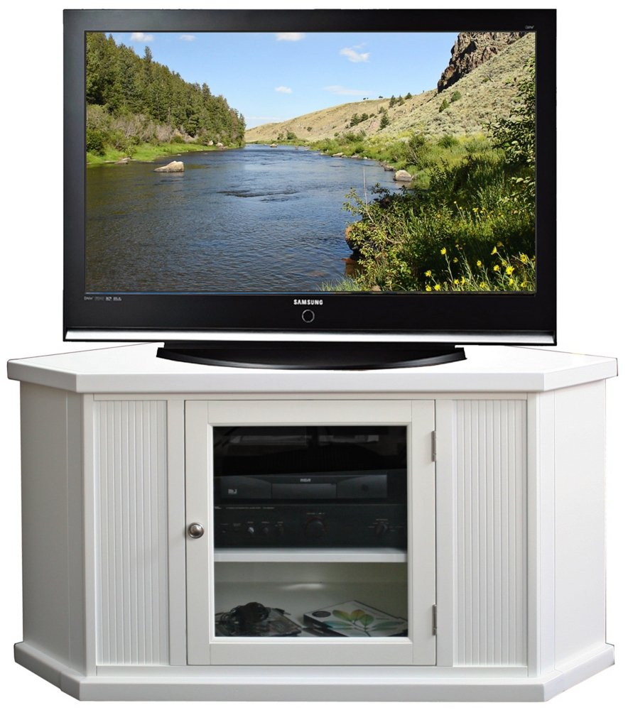 Amazon Com Leick Furniture 46 Corner Tv Stand White Kitchen  # Meuble Tv Transparent