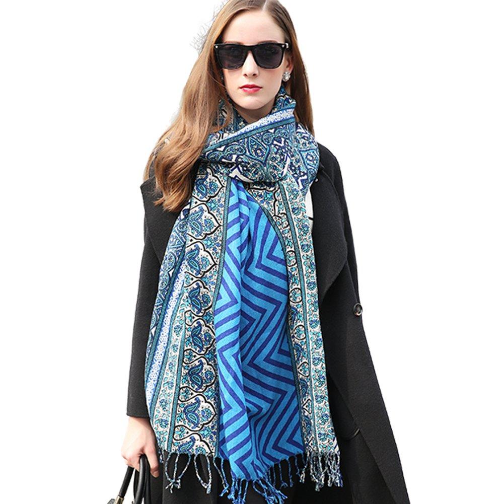 DANA XU 100% Pure Wool Women Scarf Large Size Pashmina (Blue&Grey) by DANA XU