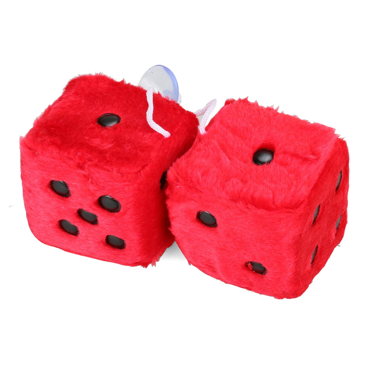MRCARTOOL 3 inch Pair of Retro Square Mirror Hanging Dice Couple Fuzzy Plush Dice with Dots for Car Interior Ornament Decoration (White)
