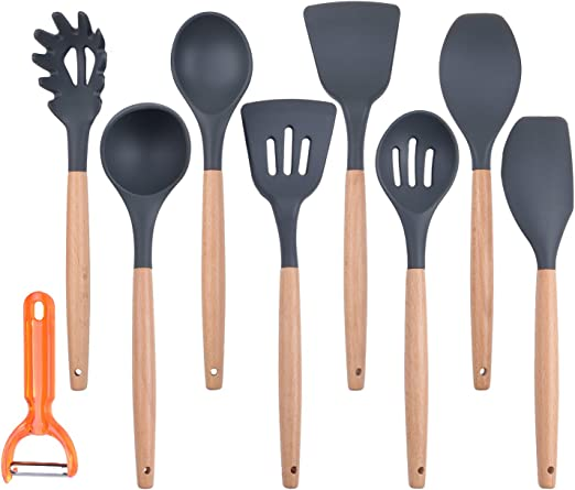 1 Bonus Holder Bamboo Wooden Spoons /& Spatulas Wooden Spatula Bamboo Utensil Set of 5 Pieces Heat Resistant for Non Stick Cookware Kitchen Cooking Tools for Nonstick Pots and Pans Cookware