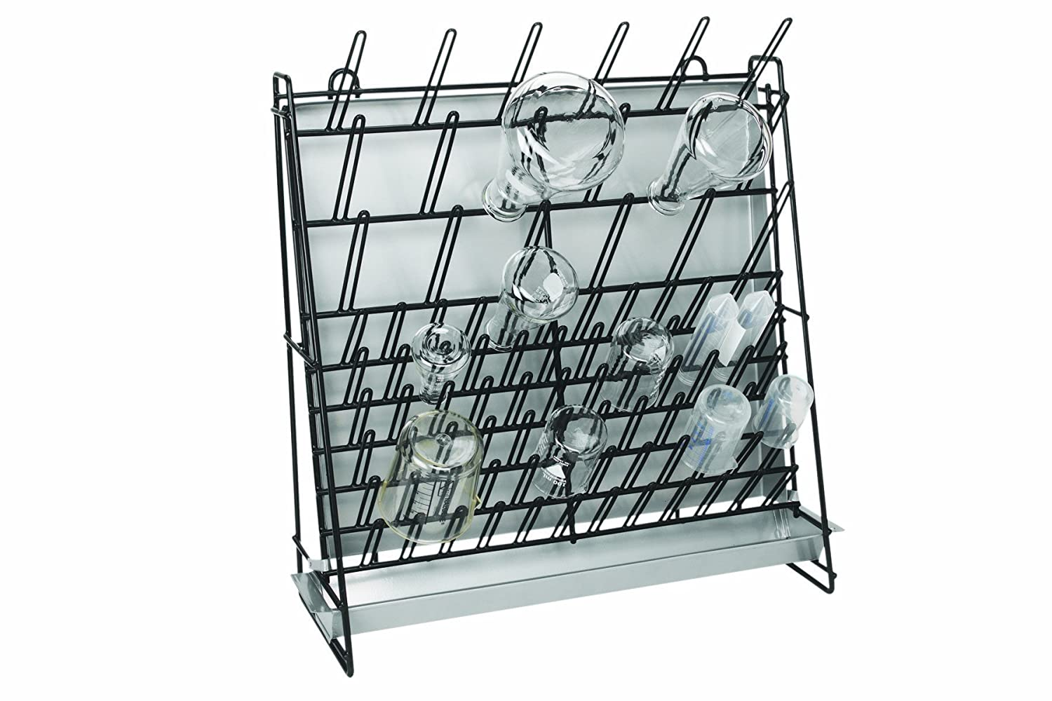 Heathrow Scientific - HEA23243A HS23243A Glassware Drying Rack, Vinyl-Coated Steel Wire Construction, Self-Standing or Wall-Mountable, 462 x 182 x 525mm (L x W x H)