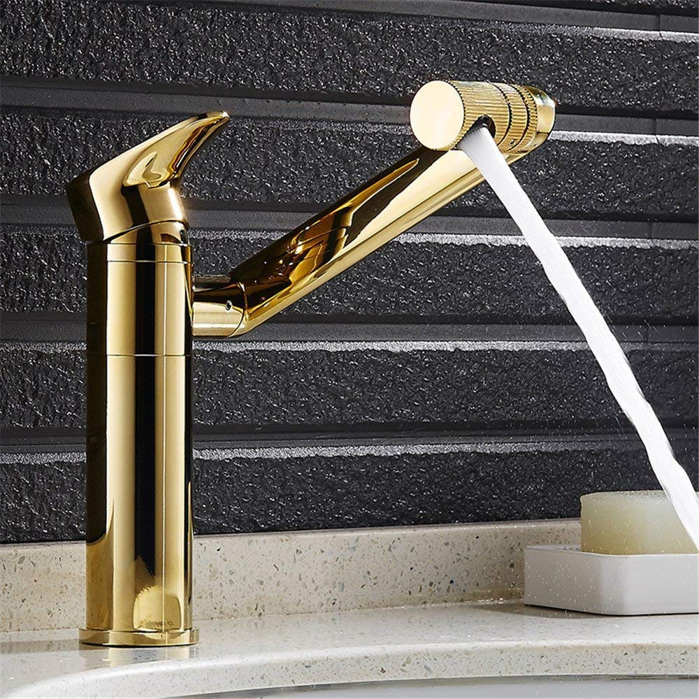 Eeayyygch Kreative Kupfer Körper heißer und kalter Wasserhahn drehbaren Goldenen waschbecken waschbecken Wasserhahn A (Farbe   A)