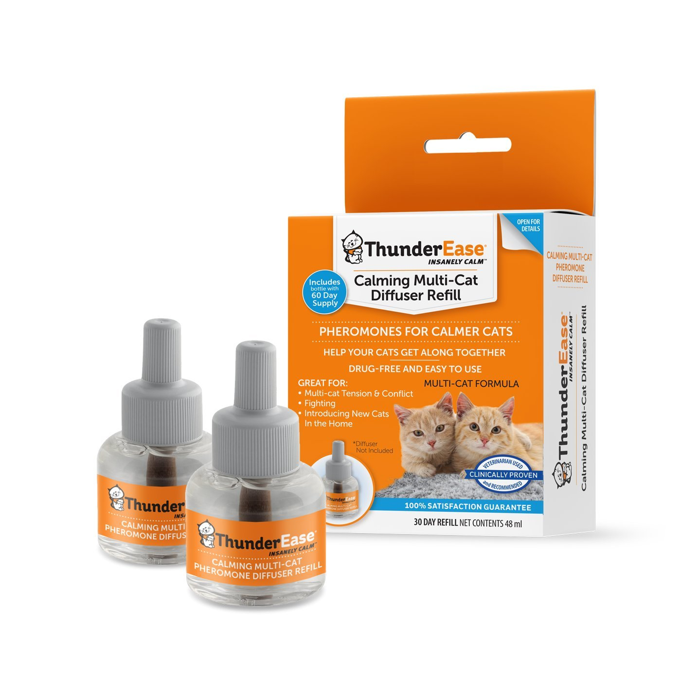 ThunderEase Multicat Calming Pheromone Diffuser Refill - Reduce Cat Conflict, Tension and Fighting (60 Day Supply)