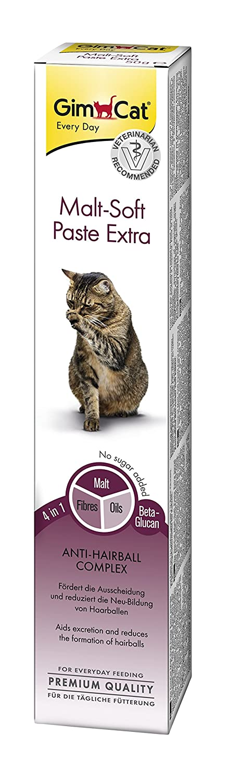 GimCat pasta Malt-Soft Extra , Aperitivo para gatos de fibra de origen vegetal con efecto antibolas de pelo , 1 paquete (1 x 50 g): Amazon.es: Productos ...