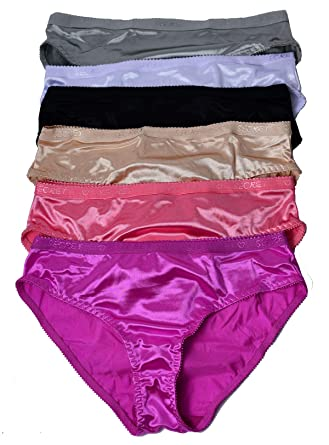 8b347a610c1b Viola's Secret Women Satin Bikini 6 Pack of Plain Satin Underwear ...