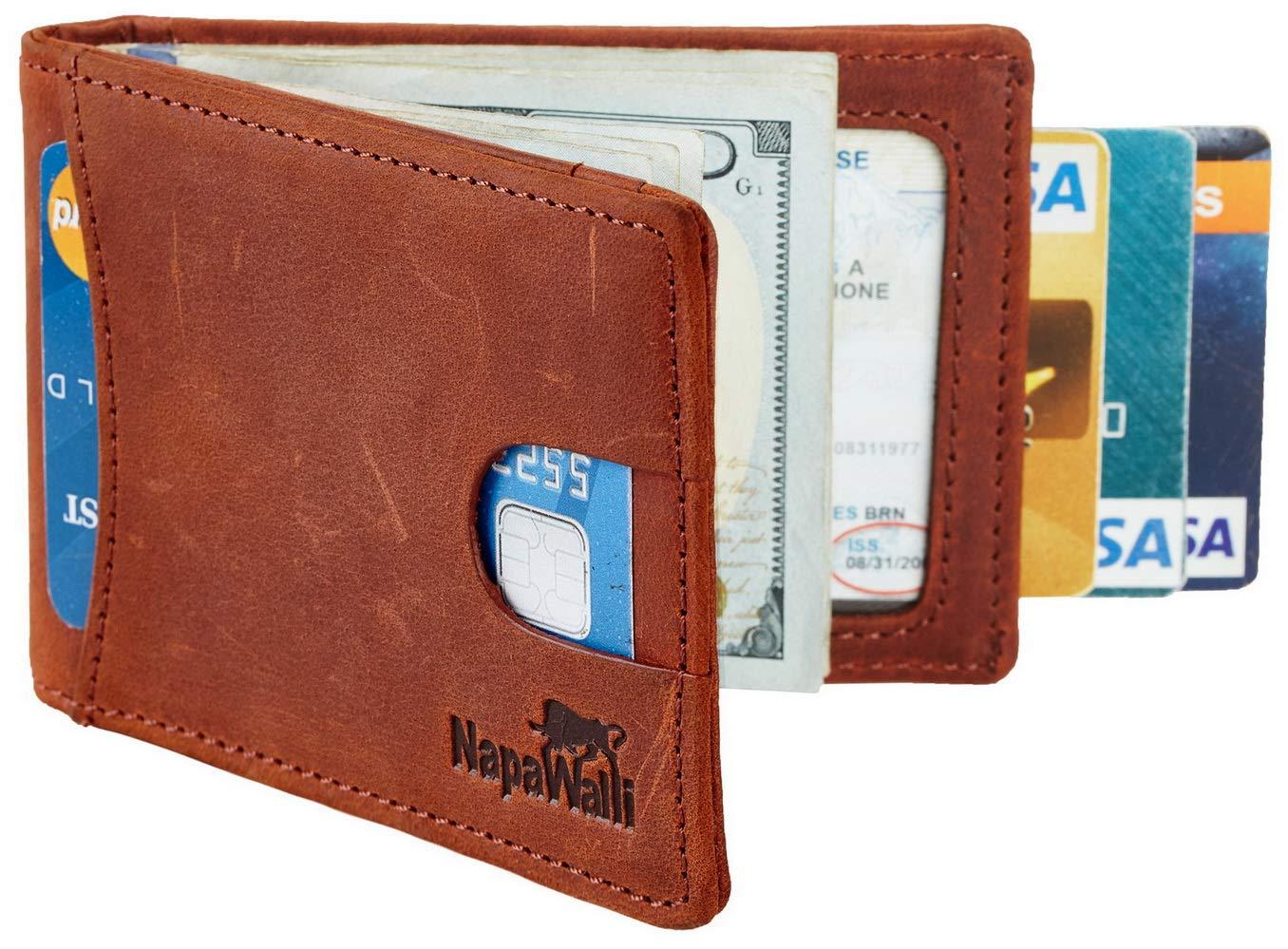 NapaWalli RFID Blocking Bifold Slim Genuine Leather Thin Minimalist Front Pocket Wallets for Men Money Clip (02 crazy horse deep brown hunter)