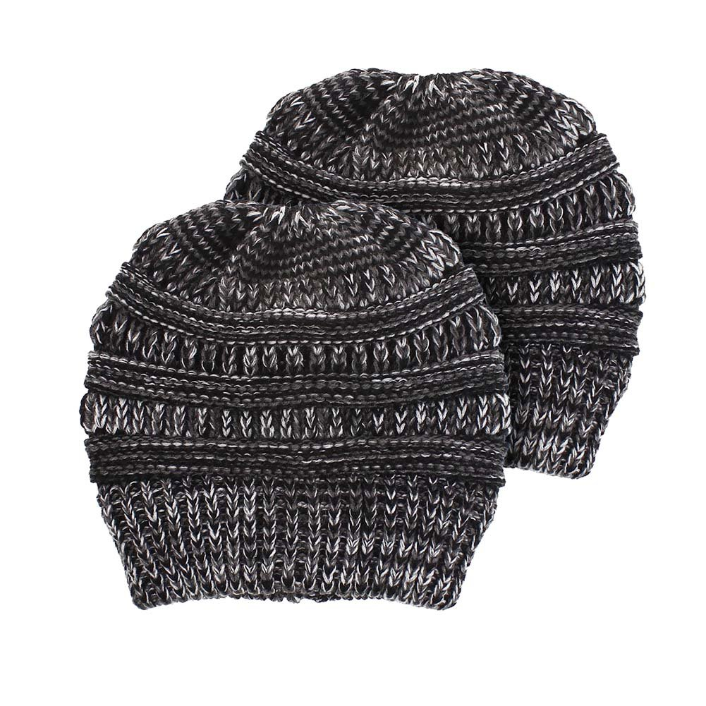 0d156b401 CHUANGLI 2 Pack Women's Winter Knit Cup Beanie Tail Ponytail Winter ...