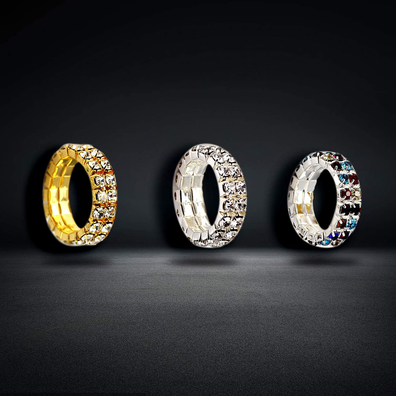 PPX 6 Piezas Anillos de Diamantes de Imitaci/ón El/ásticos Anillos Plateados de Cristal Joyas de Boda para Mujeres