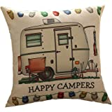 Do4U Printed Cotton Linen Square Happy Campers Pattern The campers gifts Sofa Simple Cushion Pillow Cover Cases 18x18 Inches Birthday Gift Campers Gifts by