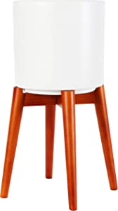 Brightech Jayce – Ceramic Planter Pot & Wood Stand for Plants, [Includes Pot and Stand] - Matches Mid Century Modern Living Rooms - Container Box for Patio, Deck, Porch, Garden, Lawn - Havana Brown