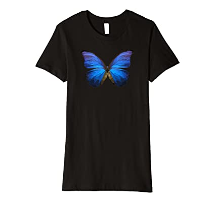 Butterfly T Shirt, Azure Blue Purple, Premium by Urban Tansy